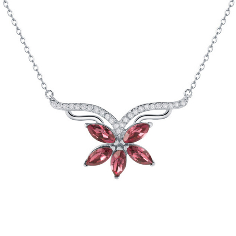 Import Austria crystal element maple leaf red and blue female necklace