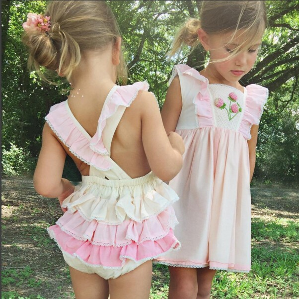 2017 New Arrive Baby Girls Pink Vintage Flower Dress Lace Trim Embroidery Dresses
