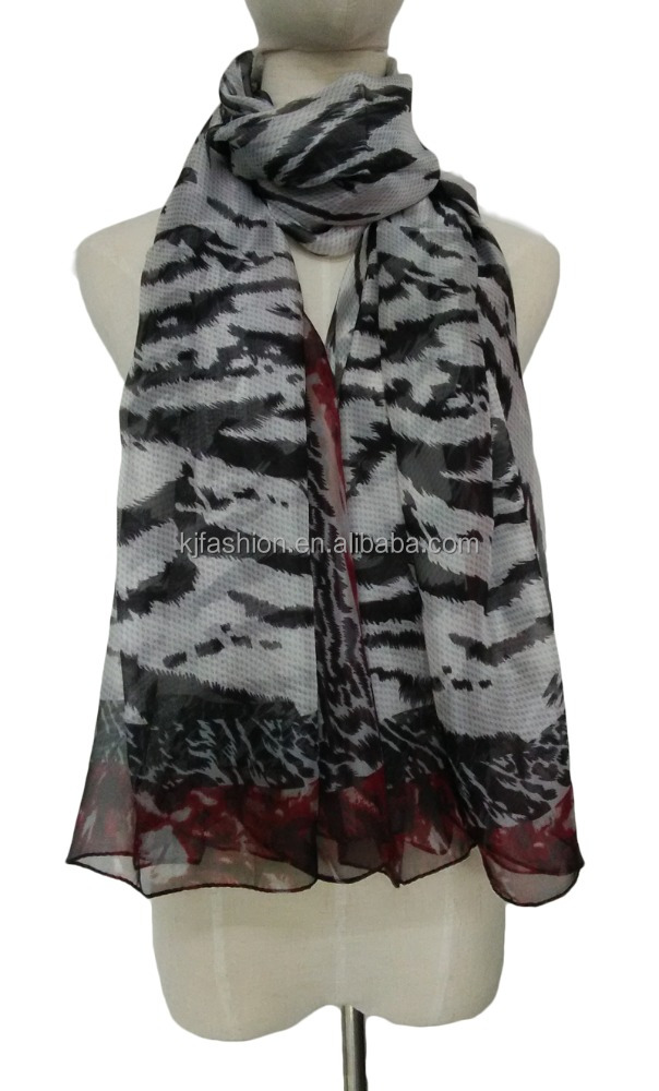 Chinese Voile Scarf With Leopard Pattern For Beach Use Sexy Women Chiffon