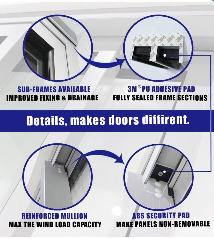 Australia As2047 Standard Commercial System Tinted Glass Aluminum Sliding Door Design In Kitchen