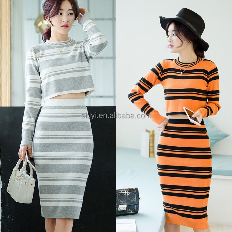 ladies designer skirt suits Knitting stripe bodycon fall style 2016 sets