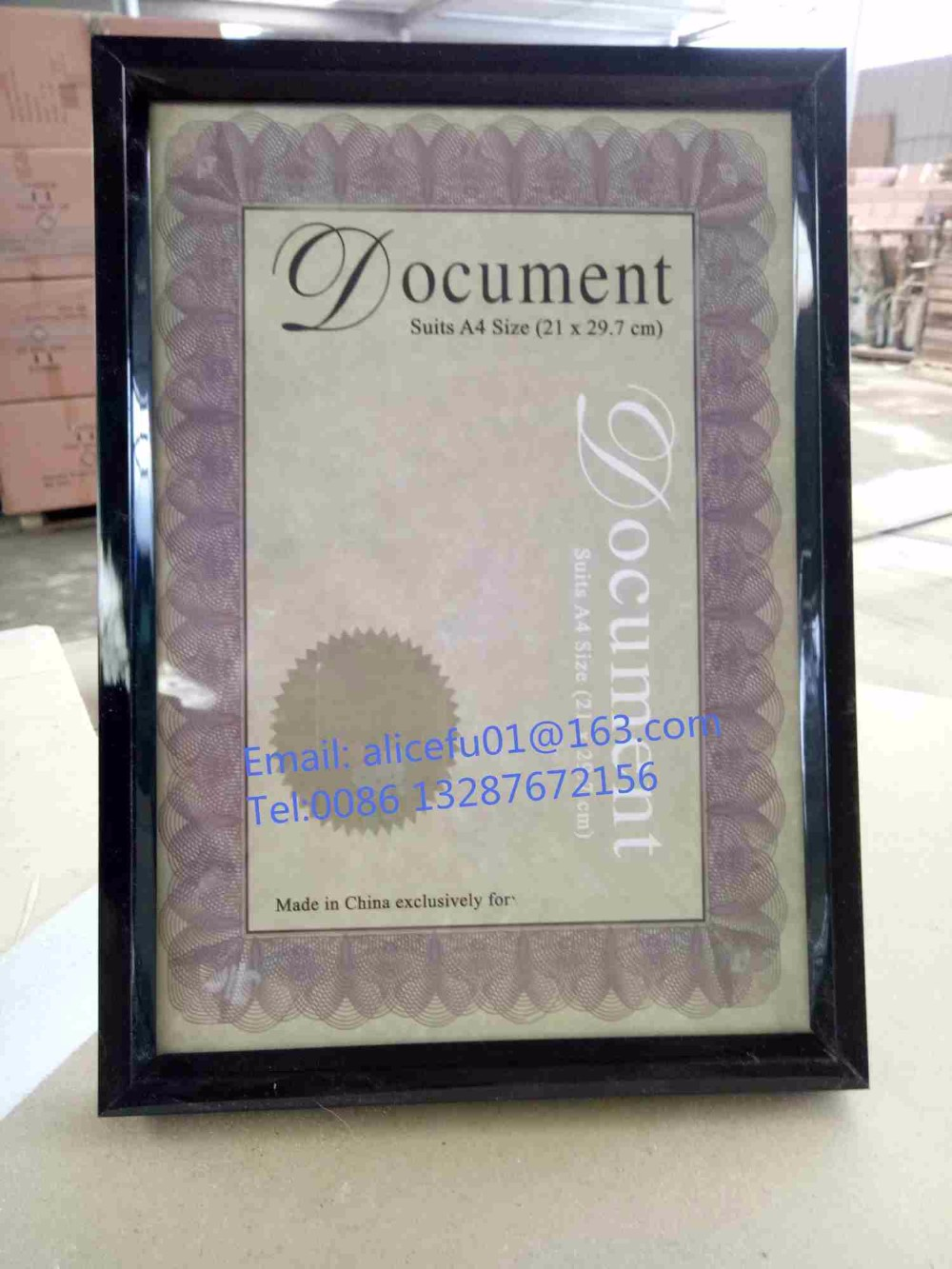 Günstige A4 Glänzend Schwarz PVC Kunststoff Award Dokument Rahmen ...