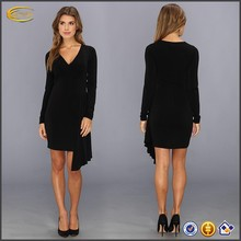 Women dress OEM clothing supplier black flowing long sleeve dress tight