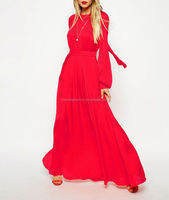CHEFON Pleated maxi cheap long evening dresses
