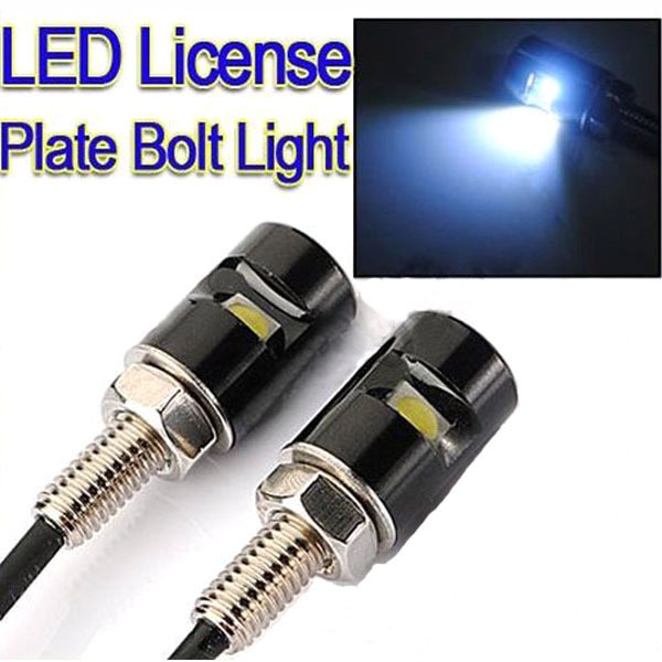 Car Auto Motorcycle 12V LED Tail Number License Plate Screw Bolt Light Lamp