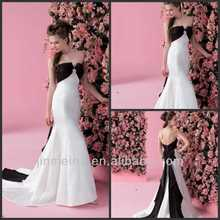 Alibaba Made In China Sashes Mermaid New Arrival Black And White Wedding Dress DW305