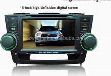 "Popular 8"" in dash HD TFT screen special car dvd player DH8001 with GPS,TV,Radio, etc.multi-functions for Toyota Highlander"