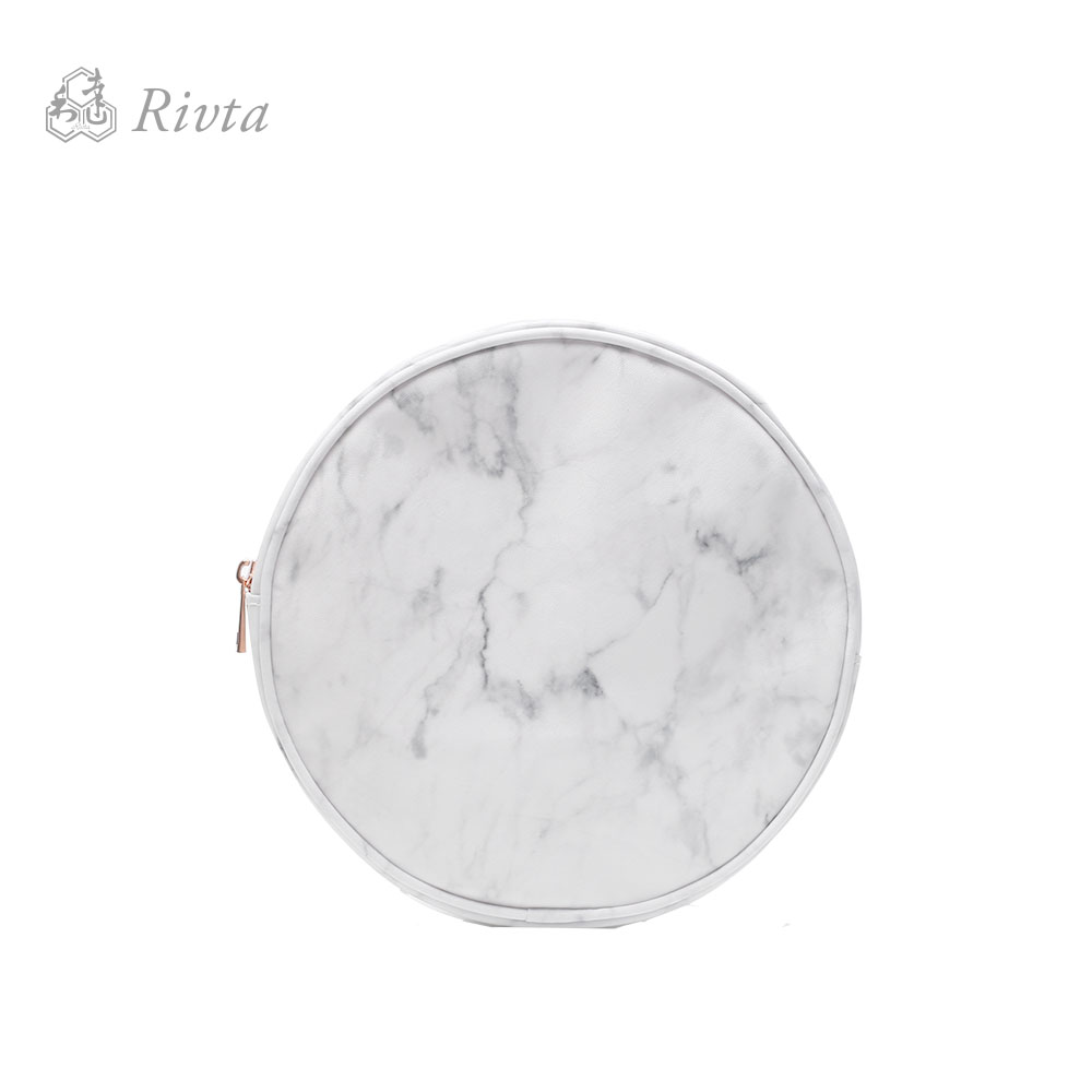 Marble-inspired Cotton Coated PVC White Marble Makeup Bag Cosmetic Bag Brush Holder Bag With Rose Gold Metal Zipper