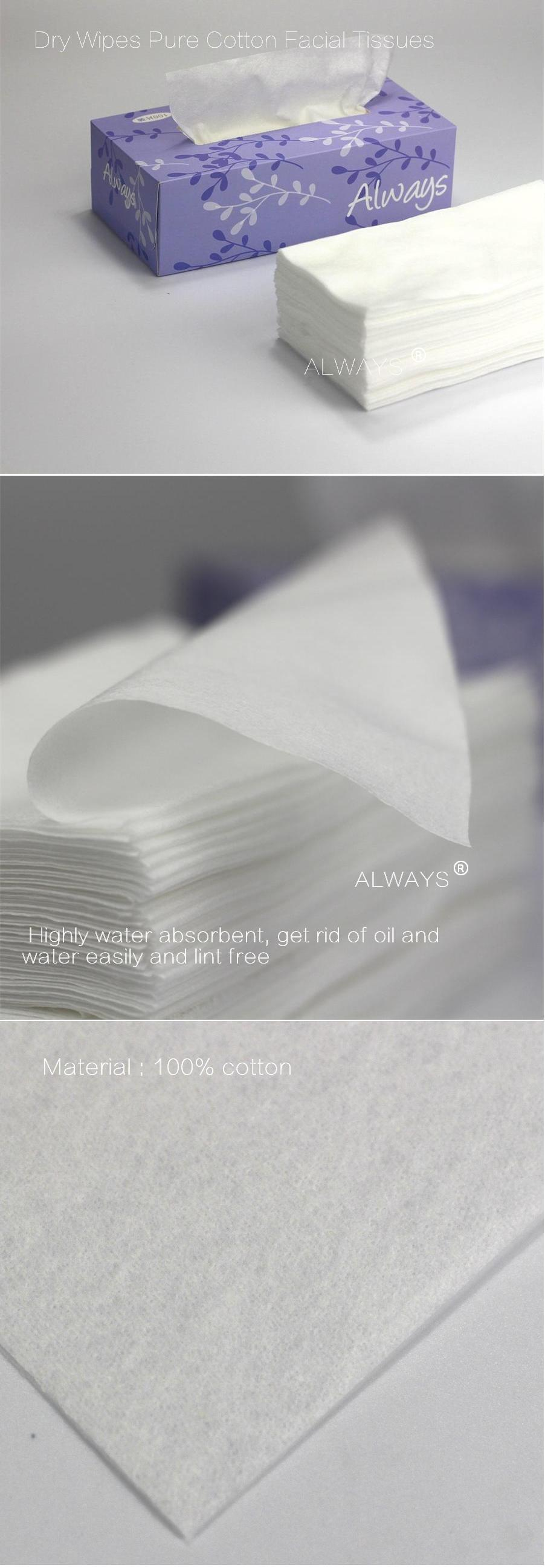 Custom Design Non-woven/Cotton dry wipes & dry baby wipes for white color