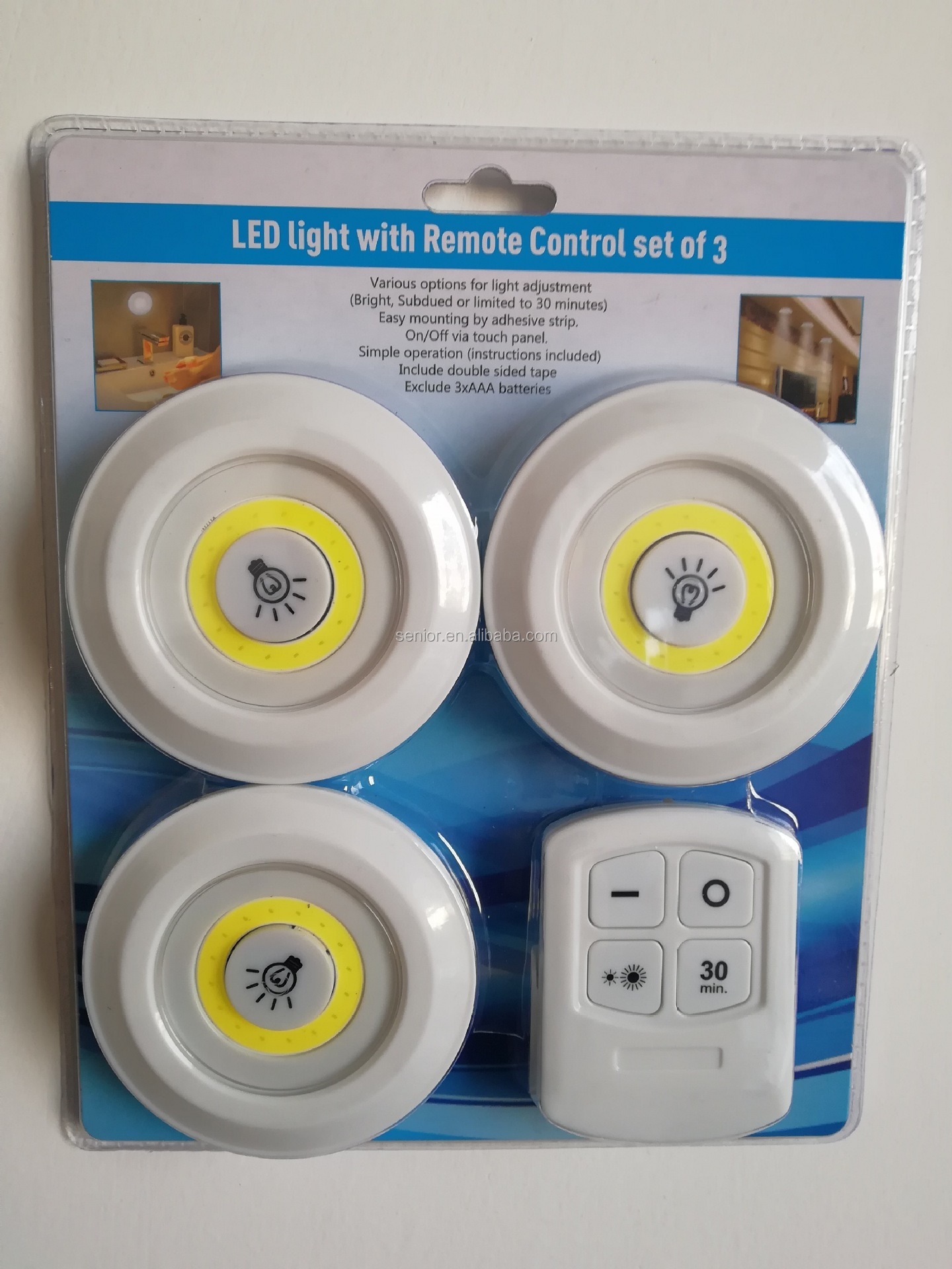 3W cob remote controlled led sensor light with sticker