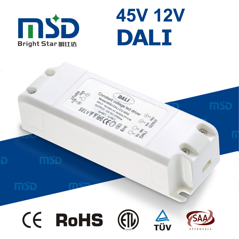 DALI group member listed five years warranty dali dimmable led <strong>driver</strong> 45W ac 220v to dc transformer 12V 24V switch power supply