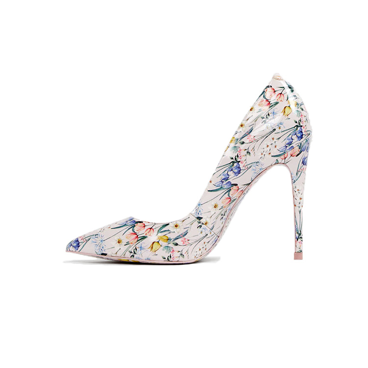 Small fresh summer high <strong>heels</strong> women Printed pictures female dress shoes
