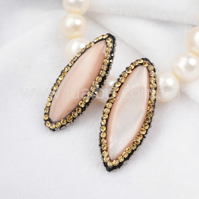 Oval pink shell beads, pink pearl beads with crystal paved edge