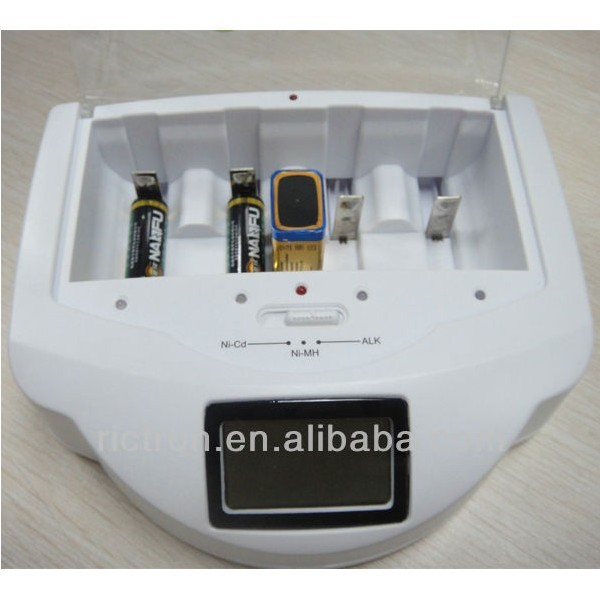 Rechargeable batteries charger alkaline battery Fast Charger Alkaline, RAM, Ni-CAD, Ni-MH battery charger with LCD,LED,OEM offer