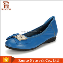 Pictures casual leather elegant women flat feet Lady beautiful blue shoes