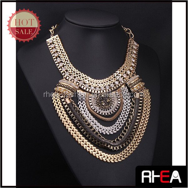 Big Multi Chain Big Statement Vintage Necklace