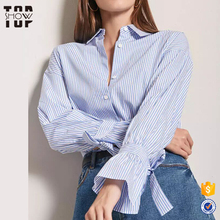 Modest clothing women 100 cotton poplin vertical striped shirt with bow tie