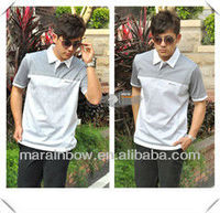2013 fashion style printed design striped polo shirt for men