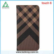 Hybrid Plaid wallet stand leather case for ipod touch 6, for ipod touch 6 flip cover, standing case for ipod touch 6
