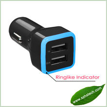 2014 Colorful Dual USB Car charger 3.4A, Dual USB car charger adapter with LED Indicator