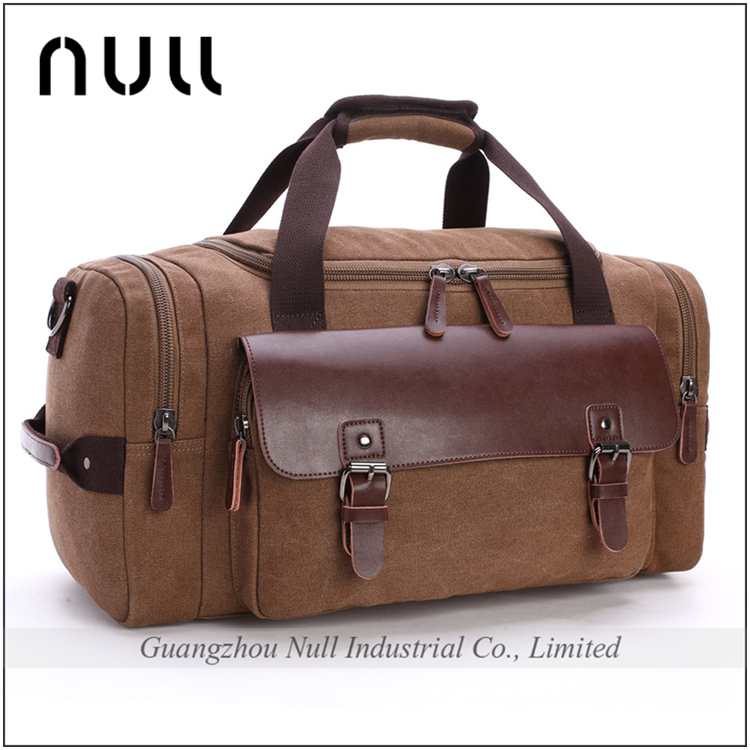 High Quality Fashionable Camel Canvas Travel Man Bag with Leather