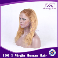 Hot Items 2015 Good Quality Cheap Human Hair Short Lace Front White Wig