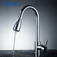 Fapully pull out kitchen faucet brass with pull spray