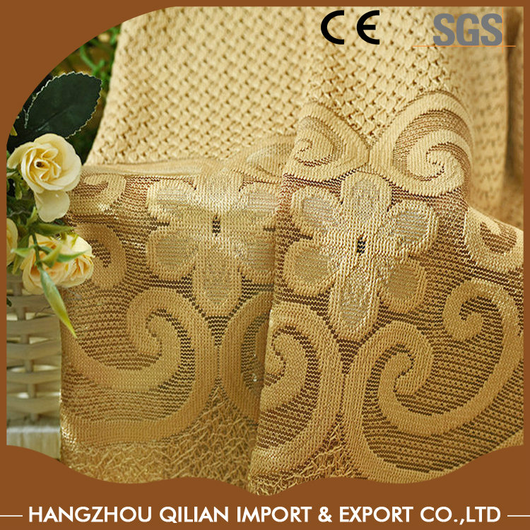 Classical jacquard lace sheer curtains with peony flower factory direct