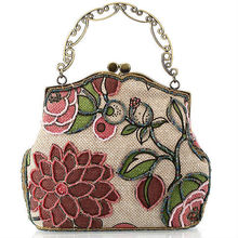 N097 new style top fashion vintage woman embroidered handbags with beads