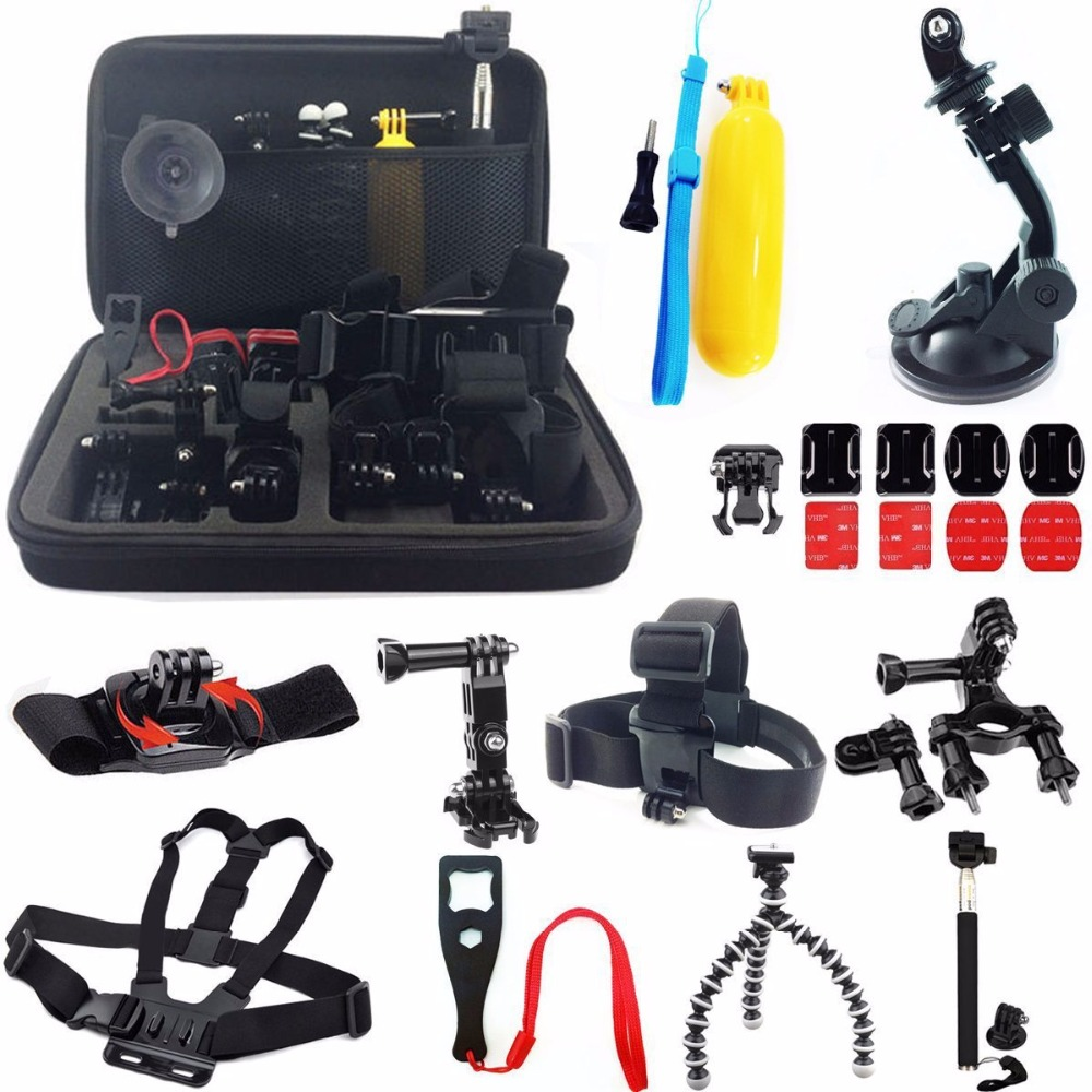 36 in 1 Pole Head Chest Mount Strap GoPros Heros 2 3 4 Camera Accessories Set Kit