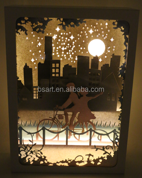 paper lantern for Christmas birthday led mood lighting shadow box cheap decoration