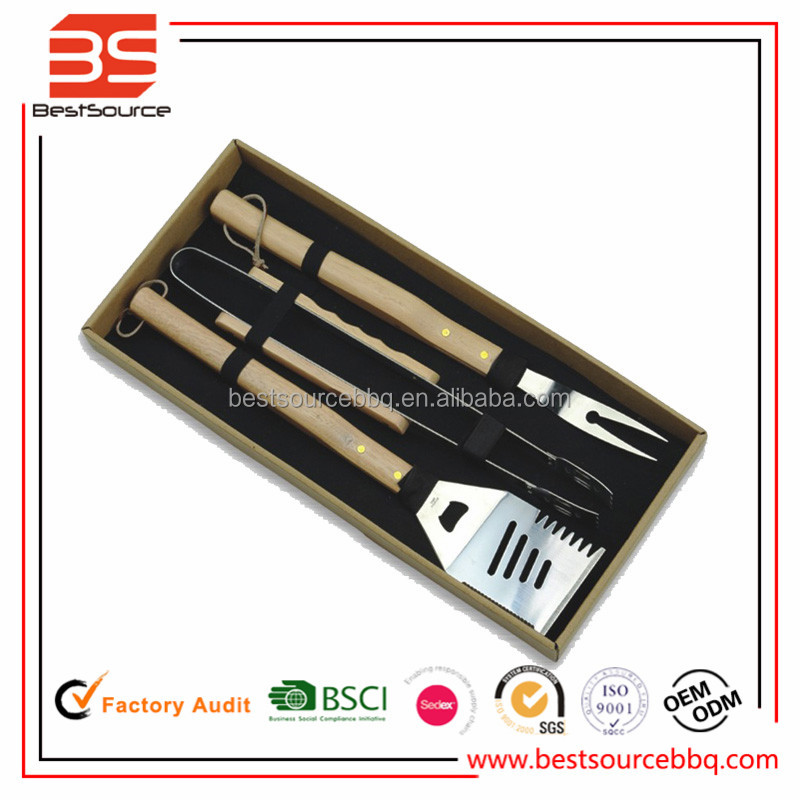 3-Piece Stainless Steel Barbecue BBQ Grill Tool Set , Wholesale BBQ Grill Tools with Wooden Handle