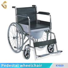 Standard steel solid wheel PVC seat commode wheelchair