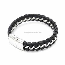 braided leather bracelet stainless steel with magnetic clasp bracelets and bangles men
