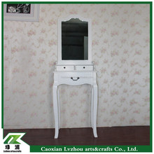 wholesale price white wood small dressing table with three drawers