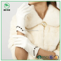 Ladies/Women white fashion gloves sheep leather sexy party dress gloves