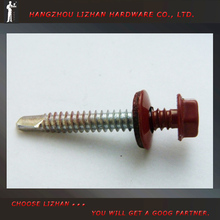 Hex Washer Red Head Painted Self Drilling Screw with dowel screw