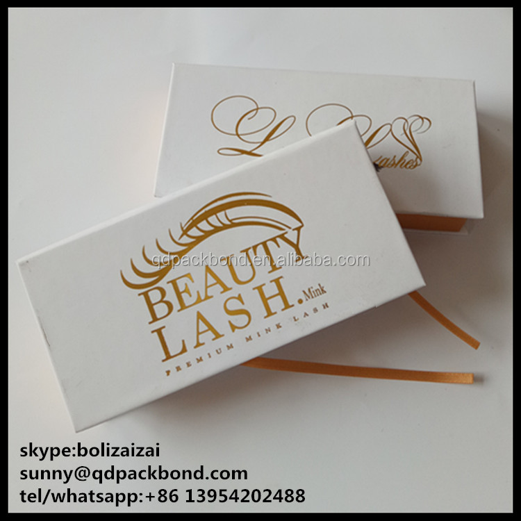 Own Brand Customized 3D lash packing box / Pure White False Eyelash Packaging Box with golden foil logo