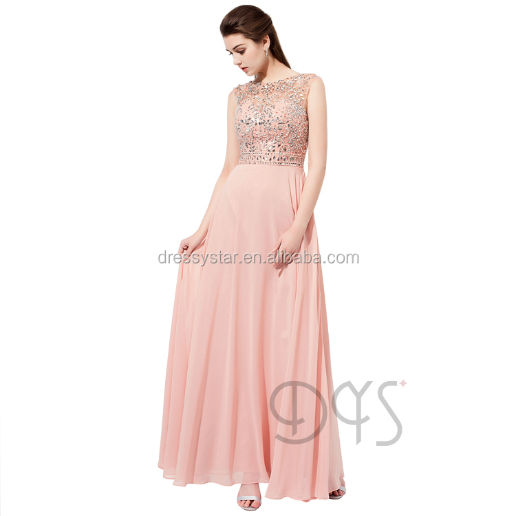 Fabulous Full-length Illusion Neckline Beadings Blush Formal Prom Dance Dress