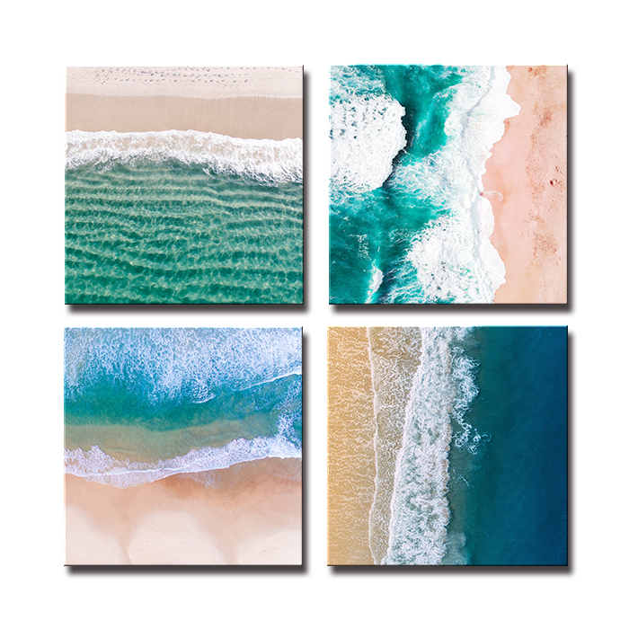 SEEGART 3 panels square holiday relax <strong>blue</strong> water white Spray seascape pictures printed on canvas for wall art