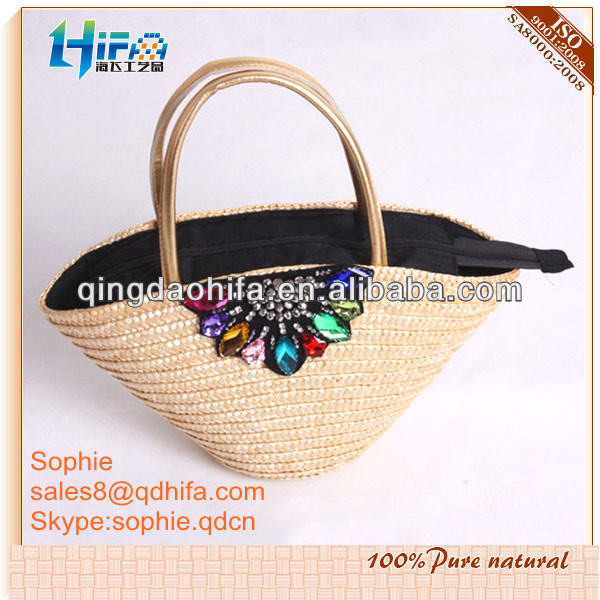 Shopper fat with PU handles,zipper and lining Straw Beach Bag