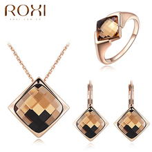 Roxi Indian Wedding Bridal Diamond Stone Jewelry Sets Plated Rose Gold Jewelry Sets Necklace Jewelries Sets For Women