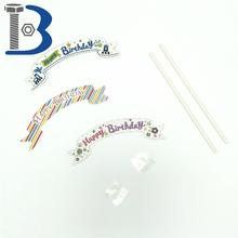 Hot sale colorful Happy birthday Decoration Party paper words pick