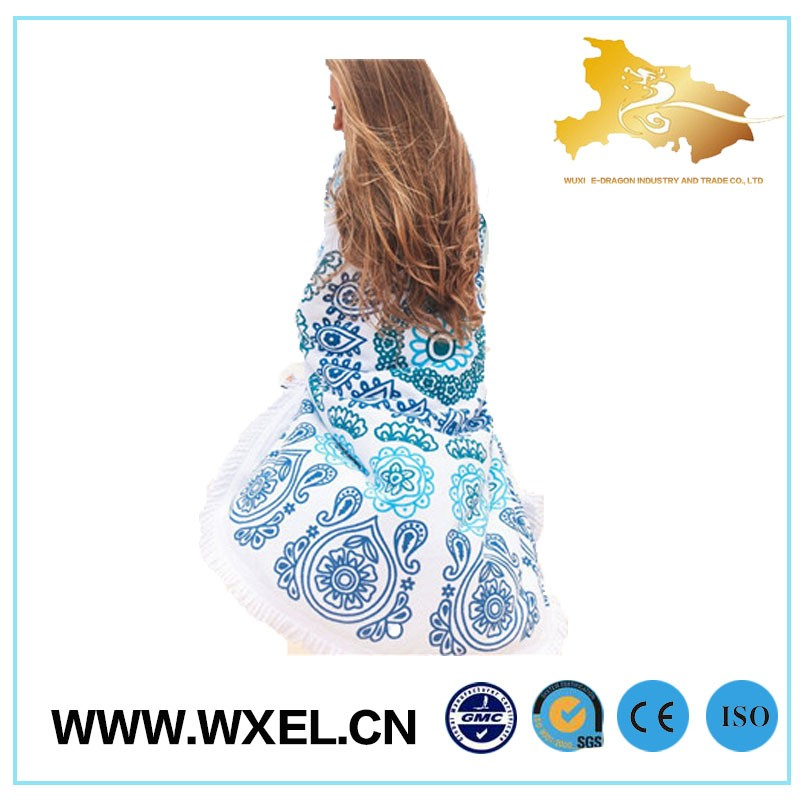 wholesale clear printed round beach towel