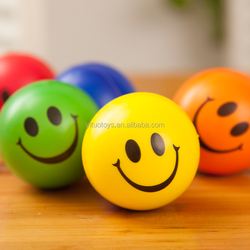 Yellow color smile face PU foam stress balls for promotion