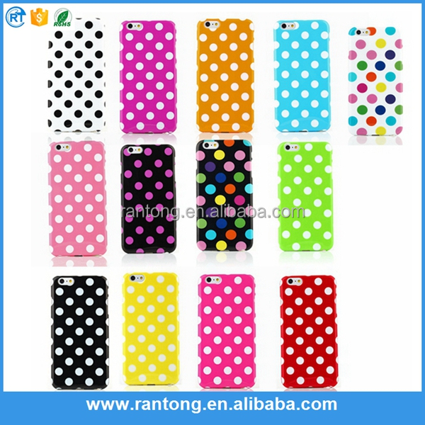 factory supplier Hot selling Lovely Colorful polka dots tpu case back cover for iphone 6