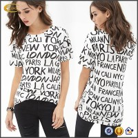 Ecoach OEM character printing women t-shirts clothing wholesaler black and white 100% cotton custom t-shirt printing