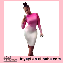 New Fashion 2015 Women Celebrity Sexy Long Sleeve Pink White Gradient Print Slim Bodycon Mini Dress Party Club Dresses