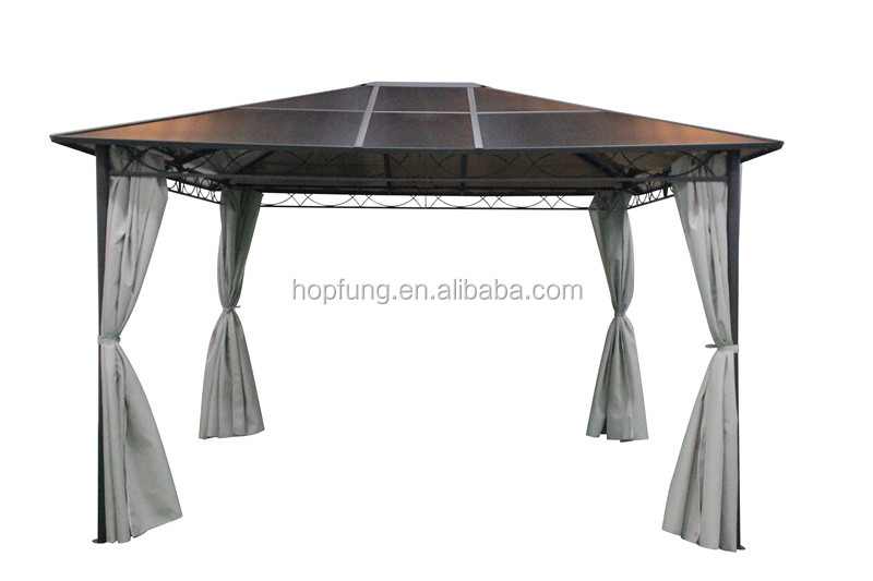 3x3m hard top gazebo PC board roof with polyester sidewall