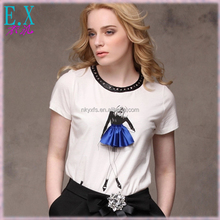 New Designs Women's Summer Girls Pattern Printing Cotton T Shirt with Pleated Frill/Beaded O Neck Trim Tops